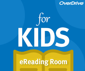 blue overdrive logo featuring books for kids